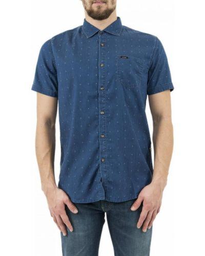 Niebieska koszula jeansowa krótki rękaw zapinane na guziki Guess