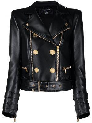 Черная кожаная длинная куртка байкерская Balmain