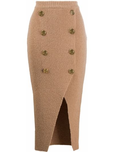 Шелковая прямая вязаная юбка Balmain