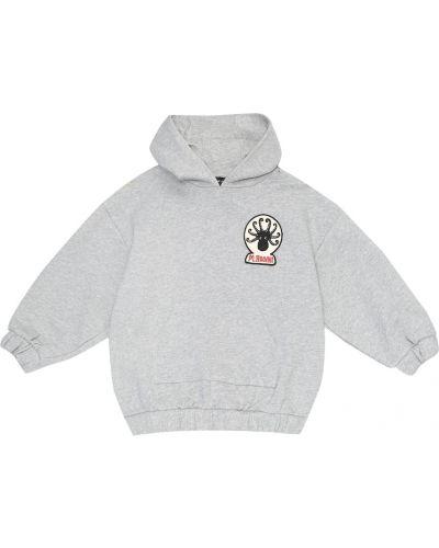 Szary bawełna bawełna bluza z kapturem Mini Rodini