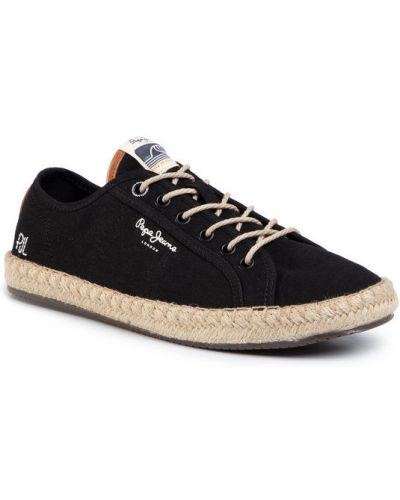 Lniane espadryle - czarne Pepe Jeans