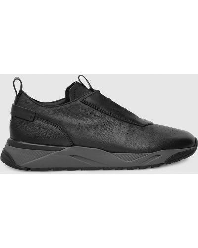 Кожаные кроссовки - черные Santoni