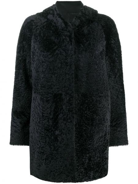 Черная длинная шуба из овчины с капюшоном Drome