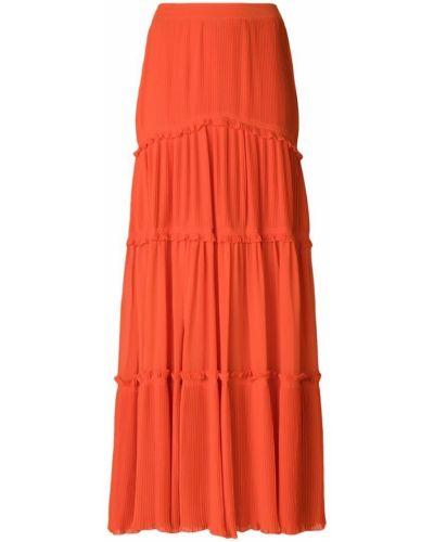 Оранжевая юбка с воланами Tory Burch