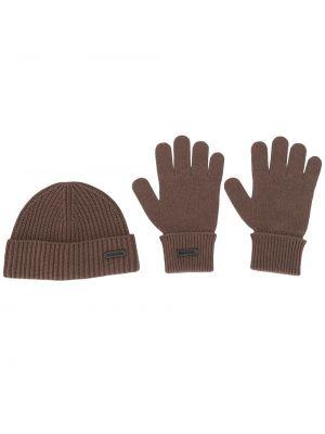 Trykotowy bawełna brązowy wełniany rękawiczki Dsquared2