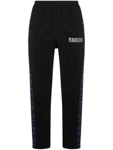 Шерстяные черные брюки с манжетами Pleasures