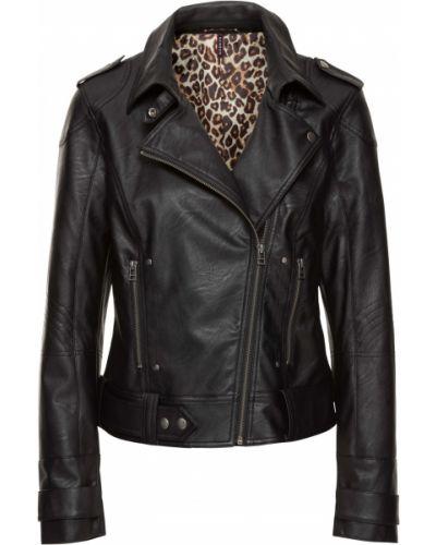 Кожаная куртка на молнии - черная Bonprix