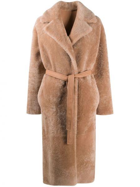 Кожаное длинное пальто двустороннее свободного кроя Blancha