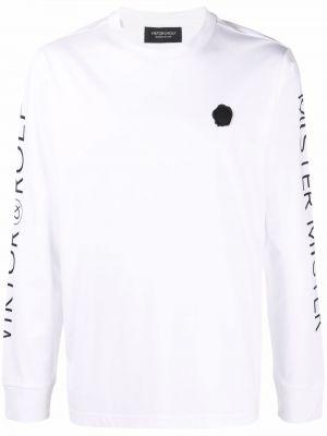Biała koszulka prążkowana Viktor & Rolf