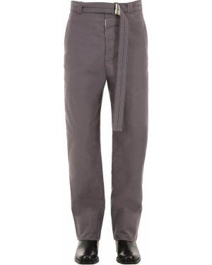 Spodnie bawełniane z paskiem klamry Rochas