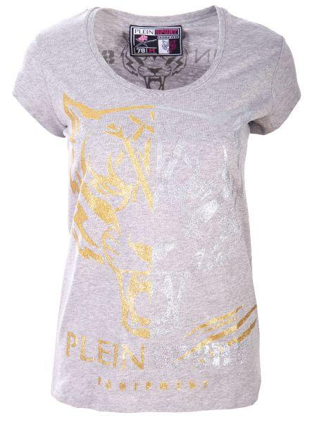 Хлопковая футбольная серая спортивная футболка с круглым вырезом Plein Sport