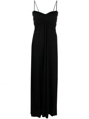 Черное платье макси с вырезом на бретелях Pinko