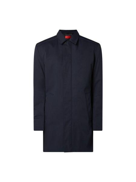 Niebieski płaszcz z kołnierzem z kieszeniami z zamkiem błyskawicznym Hugo