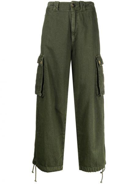 Укороченные брюки карго зеленый Semicouture
