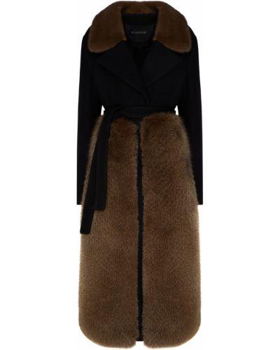 Шерстяное черное пальто с воротником Blancha