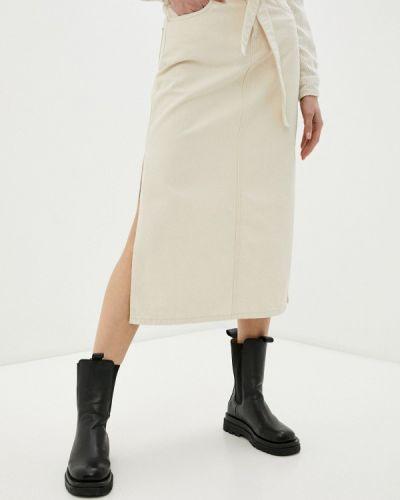 Бежевая юбка летняя Selected Femme