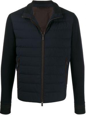 Кожаная синяя куртка на молнии с карманами Ermenegildo Zegna
