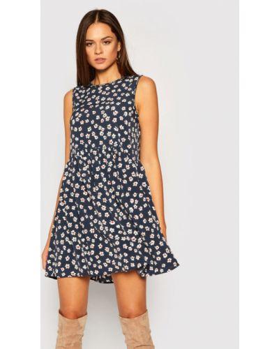 Sukienka jeansowa w kwiaty z printem granatowa Tommy Jeans