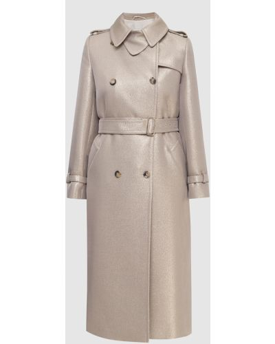 Шерстяное пальто золотое Max Mara