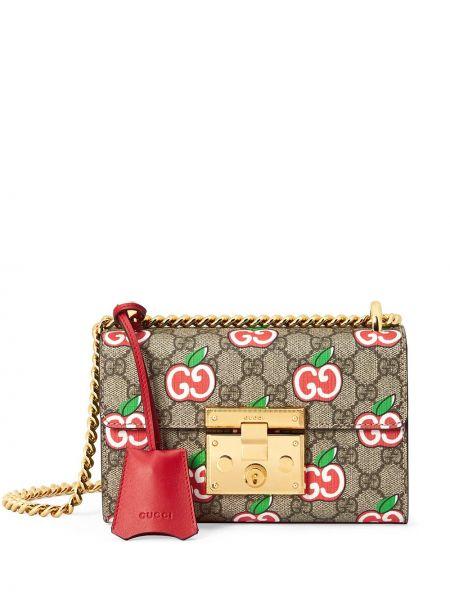 Beżowy skórzany torebka na łańcuszku z kieszeniami z łatami Gucci