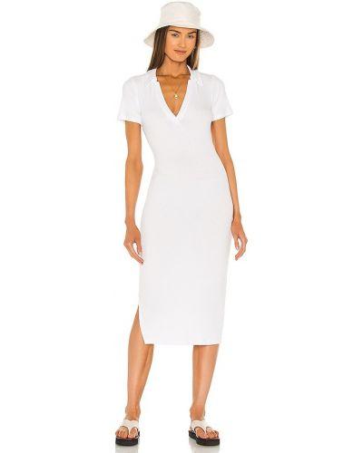 Трикотажное белое платье миди для полных Lna