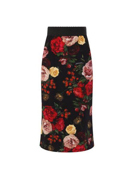 Юбка с завышенной талией с цветочным принтом Dolce & Gabbana