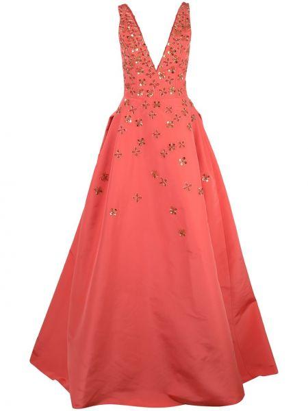 Вечернее платье с цветочным принтом с V-образным вырезом Carolina Herrera