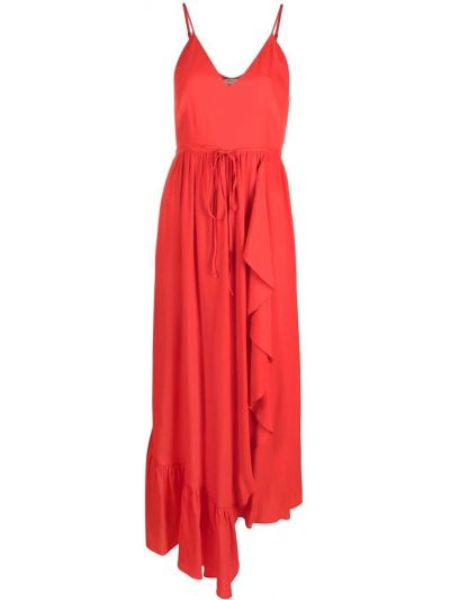 Шелковое красное платье с вырезом Twin-set