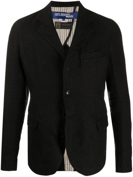 Черный классический пиджак с карманами с заплатками на пуговицах Junya Watanabe Man