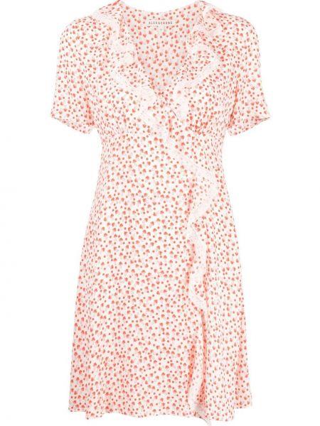 Кружевное белое платье мини с короткими рукавами Alexa Chung