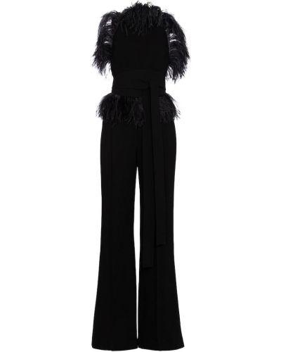 Черный комбинезон с шортами с перьями Elie Saab