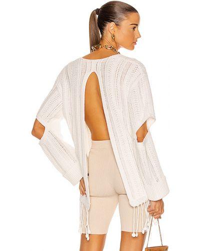 Biały ponczo bawełniany z frędzlami Jonathan Simkhai
