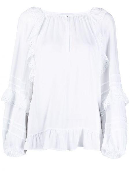 С рукавами белая блузка со вставками Dondup