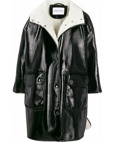 Черное длинное пальто с воротником Stand