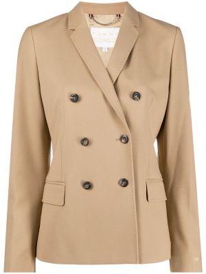 Шерстяной коричневый пиджак двубортный Tommy Hilfiger