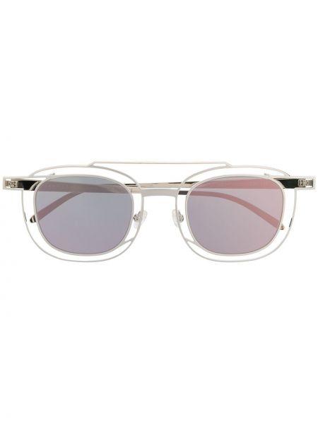 Серебряные солнцезащитные очки квадратные металлические с завязками Thierry Lasry