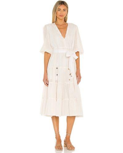 Текстильное белое платье миди с декольте Karina Grimaldi