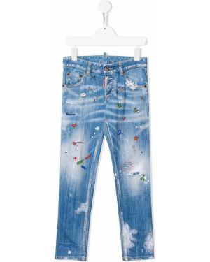 Klasyczny jeansy obcisłe niebieskie Dsquared2 Kids