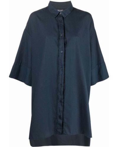 Хлопковая синяя классическая рубашка с длинными рукавами Kristensen Du Nord