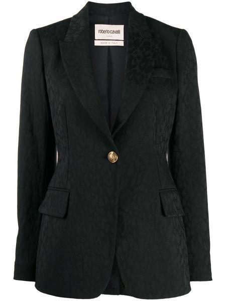 Шерстяной черный пиджак с карманами с лацканами Roberto Cavalli