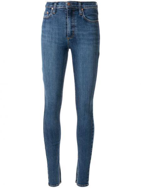 Синие джинсы-скинни с пайетками эластичные на пуговицах Nobody Denim