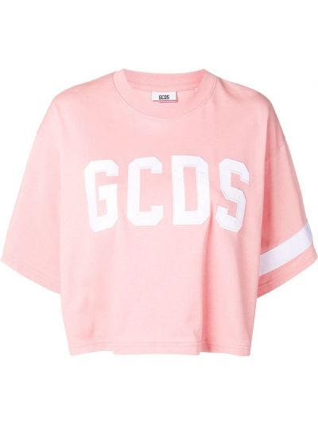 Хлопковая розовая футболка в рубчик с круглым вырезом Gcds