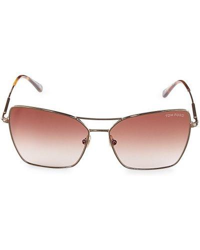 Солнцезащитные очки металлические - бежевые Tom Ford