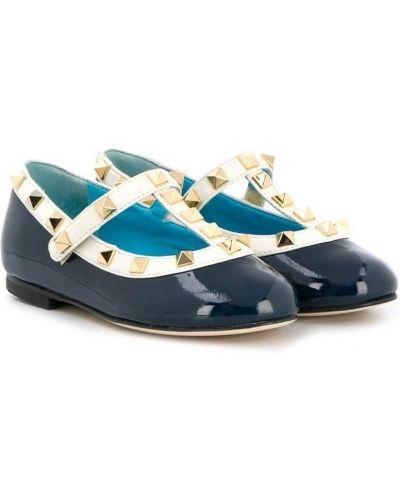 Синие балетки на каблуке с заклепками Prosperine Kids