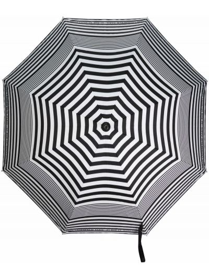 Czarny parasol w paski z printem Karl Lagerfeld