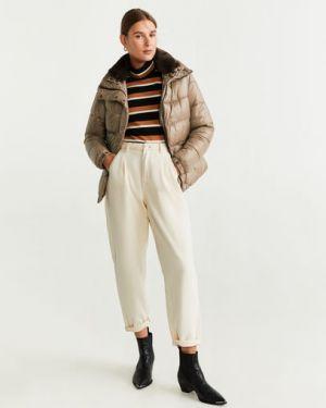 Пальто с капюшоном бежевое на кнопках Mango