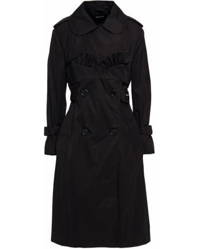 Czarny płaszcz dwurzędowy z paskiem bawełniany Simone Rocha
