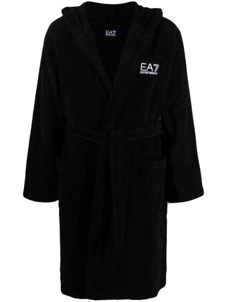 Czarny szlafrok bawełniany z kapturem Ea7 Emporio Armani