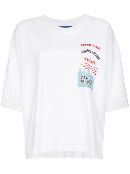 Biały t-shirt bawełniany z printem Simon Miller