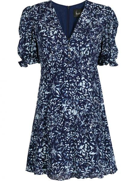 Шелковое синее вечернее платье в цветочный принт Nicole Miller